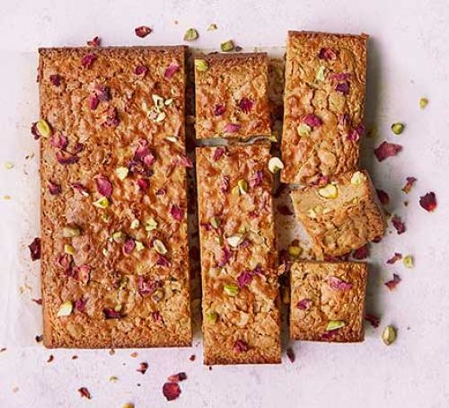 PISTACHIO, ROSE AND WHITE CHOCOLATE BLONDIES